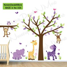 Girl Jungle Wall Decal, Nursery Wall Decals, Monkey, Purple Zebra Stickers (Wild About Purple)
