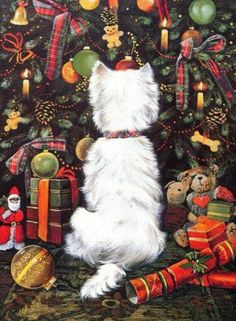 Homemade Dog Food Benefits Not sure how you calledbut Happy to all who is celebrating it . Christmas Scenes, Christmas Animals, Christmas Love, Christmas Pictures, Vintage Christmas, Le Terrier, White Terrier, Terriers, Westies