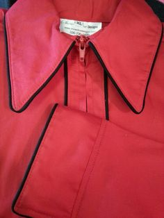Show Diva Designs red plain fitted shirt with black piping on the collar, sleeve and down the front.