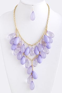 Dew Drops Necklace - Lilac - Wedding Color Inspiration = Lila loves this color!