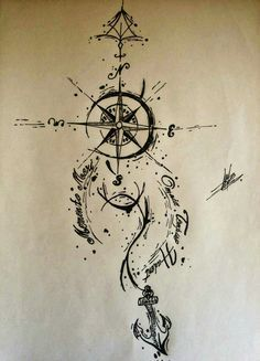 compass tattoo drawing
