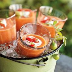 The classic Spanish chilled soup made even more flavorful with peak-season heirloom tomatoes.