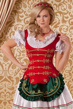 Hungarian girl dressed with Hungarian national colors. Hungarian Embroidery, Shirt Embroidery, Embroidery Patterns, Hungarian Women, Cute Dresses, Girls Dresses, Dirndl Dress, Folk Fashion, Folk Costume