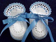 Crochet Blue and White Newborn Baby Boy Booties by mycrochetbasket
