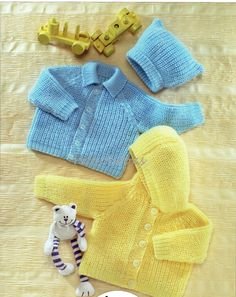 Baby knitting patterns baby childs toddler cardigans hat hooded cardigans collar ribbed DK cardigans 16-26 inch DK pdf instant download by Minihobo on Etsy