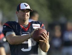 Houston Texans punter Shane Lechler handles the ball during NFL football training camp Monday, July 28, 2014, in Houston.
