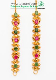 22 Karat Gold Ear Matiz - 1 Pair with Ruby & Emerald - Indian Gold Jewelry from Totaram Jewelers Diamond Chandelier Earrings, Gold Jhumka Earrings, Jewelry Design Earrings, Gold Earrings Designs, Ear Jewelry, 1 Gram Gold Jewellery, Gold Jewellery Design, Gold Jewelry, Wedding Jewelry