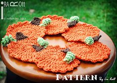 Crochet Pumpkin Coasters PDF Pattern by Ira Rott - in testing stage as of 9/24/13. 10/2 - I checked and pattern is now available.