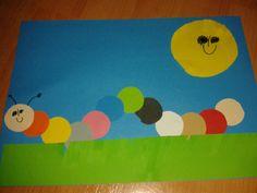 housenka z koleček z papíru, nácvik barev Spring