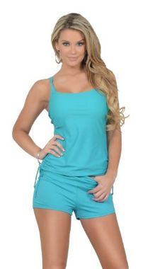Womens Two Piece Drawstring Tankini Extra Coverage Boyshorts Bikini Swimsuit Set: Amazon.ca: Sports & Outdoors