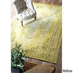 nuLOOM Vintage Inspired Overdyed Rug (8' x 10') (Yellow), Size 8' x 10' (Synthetic Fiber, Oriental)
