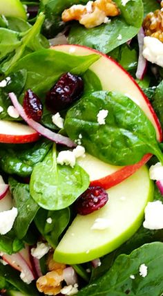 My favorite Apple Spinach Salad recipe is full of crisp apples, soft cheese, toasted nuts, and a zippy vinaigrette. Green Veggies, Fresh Vegetables, Spinach Salad Recipes, Green Apple Salad, Cranberry Spinach Salad, Spinach Salad With Chicken, Green Salad Recipes, Cabbage Salad, Cooking Recipes