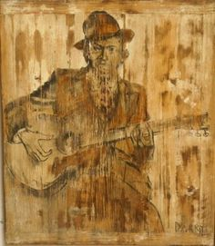 Robert Johnson - Portraits Of The Blues Icons Depicted On #Reclaimed Wood #Original #Painting by Dragan Milev - Darry http://theblueswoods.com/robert-johnson   #Blues #Music #Painting #Portrait   #Ochre  #Brown #DeltaBlues #RobertJohnson