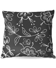 DiaNoche Designs Outdoor Throw Pillows | Zara Martina - Charcoal Flora Mix | Flowers Patterns | Charcoal Gey White