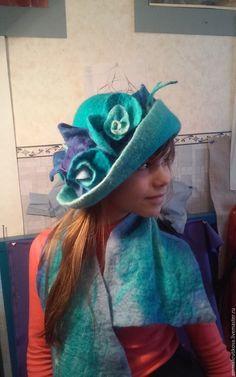 Купить Шляпа Зимние розы - шляпка женская, шляпа, бирюзовый, валяние из шерсти, Валяние, с розами