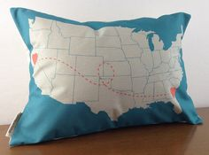 Custom Heart to Heart Location Pillow Cover - Personalized Wedding Gift - Graduation Gift