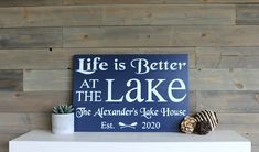 Personalized Lake House Sign | Life Is Better At The Lake | Lake House Decor | Lake House Established Sign | Lake Sign | Lake Last Name Sign House Name Signs, Lake House Signs, House Names, Last Name Signs, Lake Signs, Established Sign, Custom Wood Signs, Room Signs, Nautical Wedding