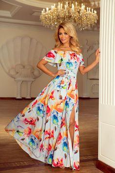 023039547f Sukienka Maxi w Stylu Hiszpańskim Kolorowe Kwiaty NU194-1. HiszpańskiSuknie