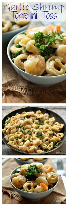 Garlic Shrimp Tortellini Toss ~ Amazing Meal Ready on the table in 20 Minutes! Loaded with Peas, Cheese Tortellini & Shrimp!