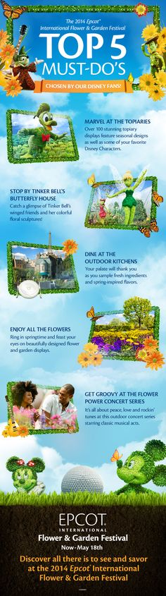 Top 5 Must-Dos for Epcot International Flower & Garden Festival as chosen by our Disney Fans! Check out topiaries featuring Mickey Mouse, Donald Duck, Tinker Bell, Cars, Toy Story, Peter Pan and Disney Princesses! #EpcotInSpring at Walt Disney World. #vacation
