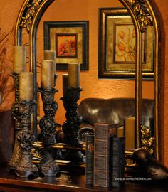 Old World Orange.. a dramatic backdrop for Tuscan wall art and accessories.