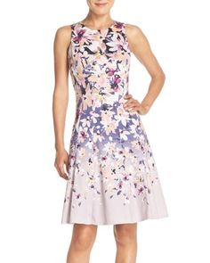 Maggy London | Pink Floral Sateen Fit & Flare Dress | Lyst