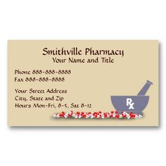 Pharmacy Pharmacist Medication List Business Card This Great