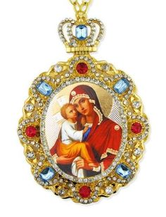 Madonna w Child Multi Color Crystal Gold P Russian Icon Christmas Tree Ornament