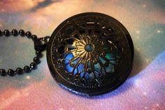 Round Black Enamel Glow In The Dark Locket Necklace by GeekOUTlet