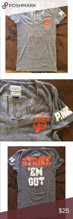 EUC VS Pink SF Giants T-shirt In excellent used condition grey San Francisco Giants t shirt. With logo of team on front. Nice thick fabric by Victoria Secret Pink PINK Victoria's Secret Tops Tees - Short Sleeve