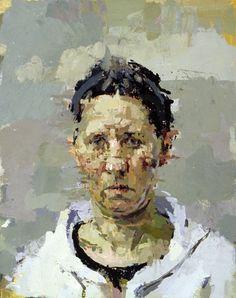 "Ann Gale, Self portrait, oil on masonite, 14""x11"", 2006."