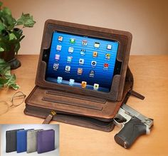 Is she carrying an iPad or a concealed handgun? Why not both?  Tumbled, full-grain, drum-dyed, leather concealed-carry case has an adjustable iPad/Tablet compartment.