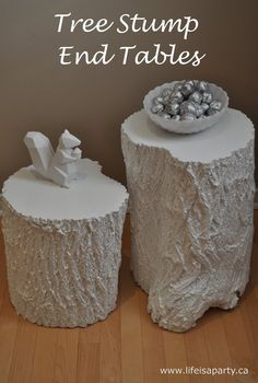Tree stump end tables