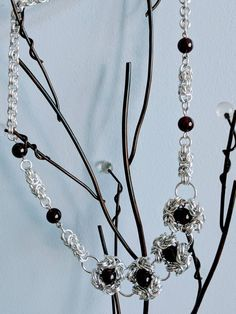Statement necklace handmade chainmaille and garnet stone beads