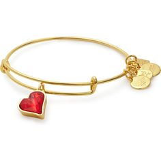 (PRODUCT)RED Heart of Strength Charm Bangle (145 ILS) ❤ liked on Polyvore featuring jewelry, bracelets, heart bangle, bangle charm bracelet, charm bangles, heart shaped jewelry and heart jewelry