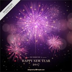 Fireworks new year background in realistic style Free Vector