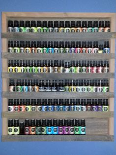 Essential Oil or nail polish shelf. Holds 108 10ml boston round bottles. Also holds standard round 5 and 15 ml bottles.  Each shelf is unique as the