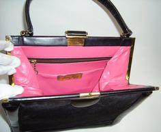 40s FRANZ VOGEL Black Ponyhair Handbag Purse