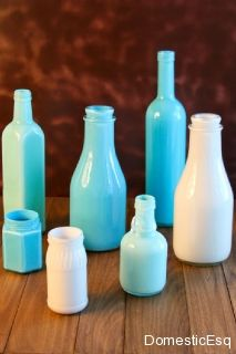 MOPS craft idea.  repurpose any bottles from the fridge! enamel paint on the inside and its a vase!