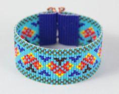Tribal Totem Bead Loom Bracelet Artisanal Jewelry by PuebloAndCo
