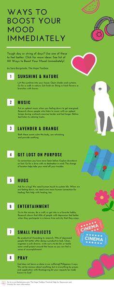 Feeling down? Here's how to lift your mood fast. Click for 101 ways to Boost Your Mood Immediately. Which is your favorite?