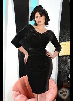 Deadly Dames Film Noir Dress in Black Velvet