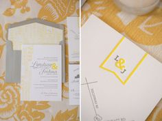 Arrow Pattern Wedding Invitations | Grey and Yellow | designed by @idieh design
