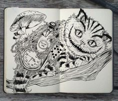 Moleskine art by Gabriel Picolo We All Mad Here, Gabriel Picolo, Chesire Cat, Cheshire Cat Drawing, Doodles, Mandala Drawing, Illustration, Disney Drawings, Doodle Art