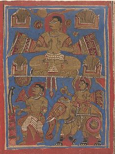 Kamatha Performing the Five Fire Penances (top) and Parsvanatha Rescuing the Snake Dharana (bottom): Folio from a Kalpasutra Manuscript Date: 15th century Culture: India (Gujarat) Medium: Ink, opaque watercolor, and gold on paper Dimensions: Overall: 4 3/8 x 10 5/8 in. (11.1 x 27 cm) Classification: Paintings Credit Line: Rogers Fund, 1955 Accession Number: 55.121.38.20
