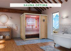 """Sauna im Haus: Zwei eingebaute VITALlight-ABC-Infrarotstrahler mit stufenloser Regelung machen die Sauna-Infrarot-Kombination """"Optima"""" zu einem kleinen Gesundheitszentrum. Der kompakte Verdampferofen mit Sole-Therme erzeugt besten Soledampf und ist eine Wohltat für Ihre Haut und Atemwege. Genießen Sie die unterschiedlichen Möglichkeiten, Ihren Körper so richtig ins Schwitzen zu bringen. #Sauna #Innensauna #Infrarot Kabine, Clawfoot Bathtub, Modern, Infrared Heater, Sauna Ideas, Home And Garden, Deco, Nice Asses, Trendy Tree"""