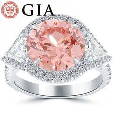 7.03 Carat GIA Certified Fancy Intense Pink Diamond Engagement Ring in Platinum Liori Diamond