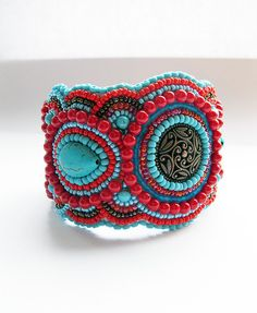 Beaded bracelet colour inspiration turquoise and red