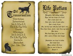 Disney inspired hocus pocus spells - Free printable spell book pages