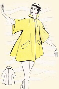 Vintage Sewing Pattern 1950's Beach Coat in Any Size by Mrsdepew